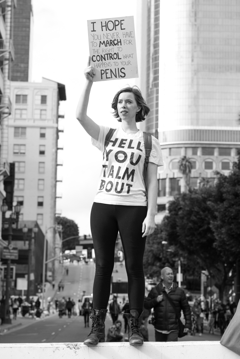 female-protester-los-angeles-womens-march