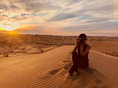 Here is an Iphone photo Michaela took of me at sunset